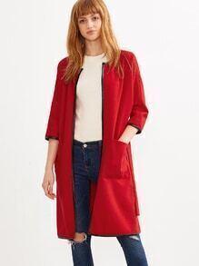 Buy Red Self Tie Contrast Binding Collarless Coat