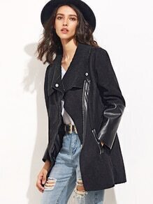 Black Suede Mixed Media Asymmetric Zip Coat
