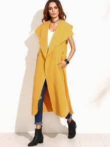 Abrigo cuello drapeado sin mangas - amarillo