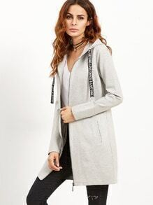Grey Letter Print Tape Hooded Zip Up Coat