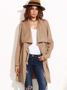 Manteau en suédine col châle avec boucle - marron