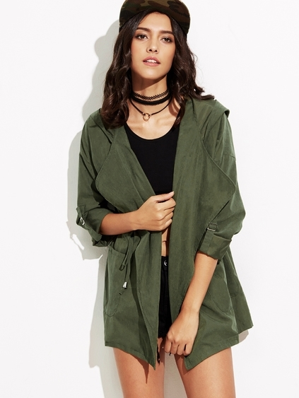 Army Green Drawstring Pockets Hooded Coat