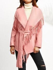 Chaqueta hombro drapeado cinturón talla grande - rosa