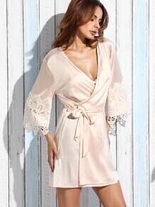 Light Pink Contrast Lace Tie Waist Wrap Kimono