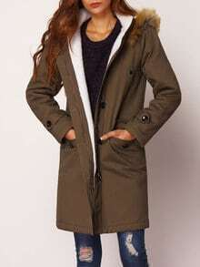 Army Green Hooded Long Sleeve Coat