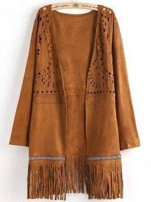 Khaki Long Sleeve Hollow Tassel Coat