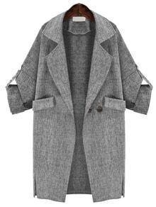 Manteau décontracté avec poches -gris