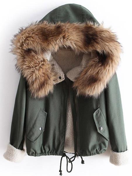 Зеленый Меха С Капюшоном С Длинным Рукавом Шнурок Пальто Стеганые