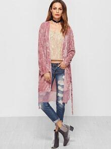 Pink Self Belt Lace Trim Crushed Velvet Coat