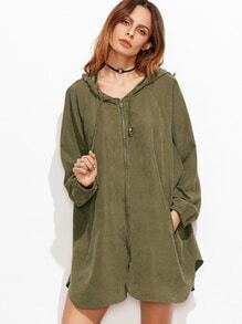Olive Green Zipper Front Hooded Raglan Sleeve Swing Coat