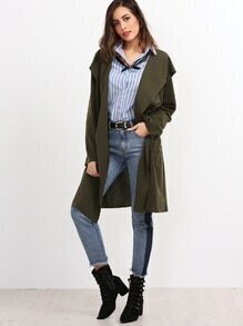 Olive Green Open Front Hooded Coat With Pocket