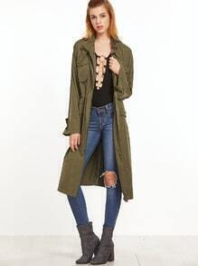 Olive Green Multi Pocket Drawstring Waist Coat