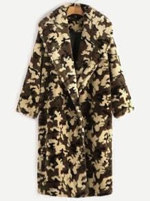 Manteau sans col en faux cuir color-block