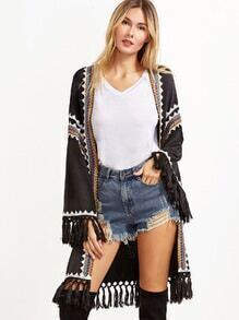 Black Knotted Fringe Trim Embroidered Tape Embellished Coat