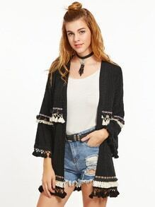 Black Ribbed Knit Coat With Embroidered Top And Coin Fringe Detail