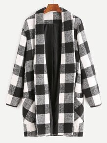 Black And White Checkered Shawl Collar Coat