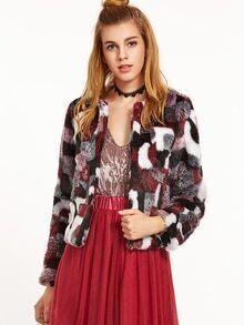 Color Block Faux Fur Collarless Coat