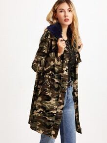 Buy Army Green Camo Print Faux Fur Collar Hooded Utility Coat