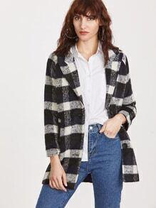 Manteau carreaux à col haut poitrine unique -noir