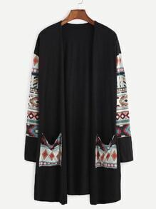 Black Tribal Print Pocket Front Coat