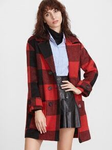 Black And Red Checkered Belted Cuff Double Breasted Coat