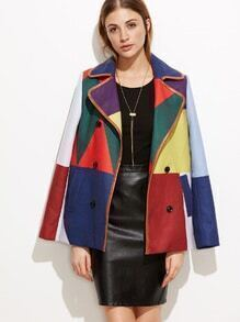 Color Block Faux Leather Binding Double Breasted Pea Coat