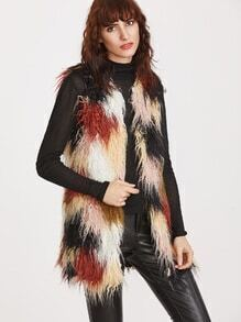 Color Block Faux Fur Open Front Vest