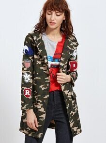 Olive Green Camo Print Hooded Coat With Patch Detail