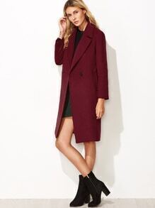 Burgundy Notch Collar Double Breasted Overcoat