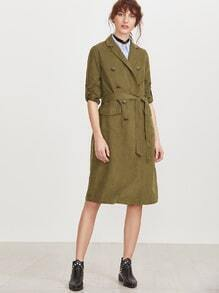 Olive Green Double Breasted Belted Trench Coat