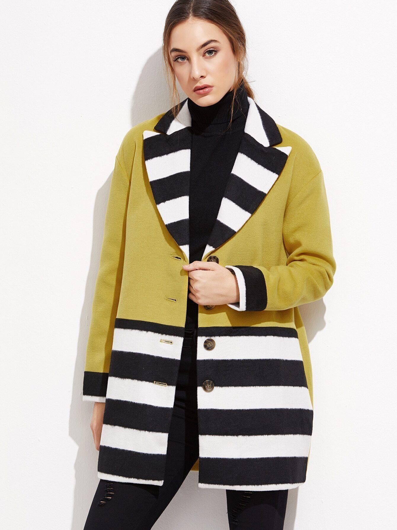 veste m lang de laine couleur bloc avec bouton french romwe. Black Bedroom Furniture Sets. Home Design Ideas