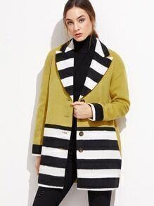 Veste mélangé de laine couleur bloc avec bouton