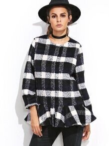 Navy Plaid Hidden Button Ruffle Hem Coat