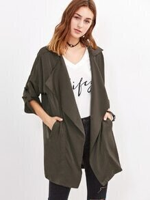 Oversized Collar Roll Tab Sleeve Duster Coat