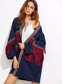 Navy Suede Fringe Coat With Embroidered Tape Detail