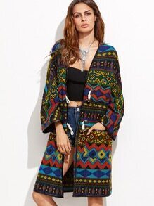 Multicolor Geo Pattern Faux Leather Binding Coat