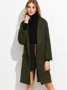 Army Green Open Front Split Back Coat