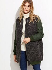 Color Block Mixed Media Zip Up Bomber Coat