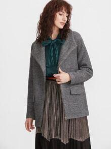 Grey Marled Knit Drape Collar Zip Up Coat