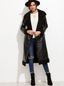 Black Buckle Strap Front Faux Leather Shearling Coat