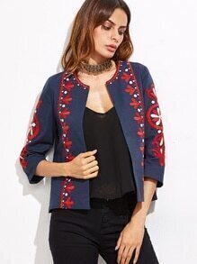 Navy Embroidery Three Quarter Length Sleeve Coat