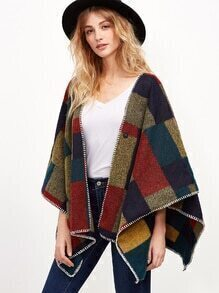 Color Block Whipstitch Trim Poncho Coat