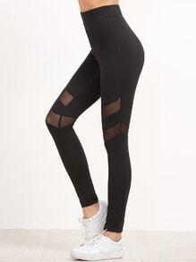 Leggings taille haut avec panneau de maille détail -noir