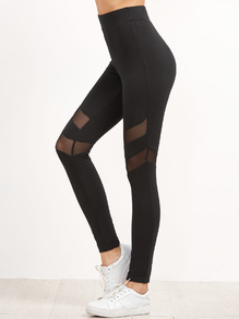 Black High Waist Leggings With Mesh Panel Detail