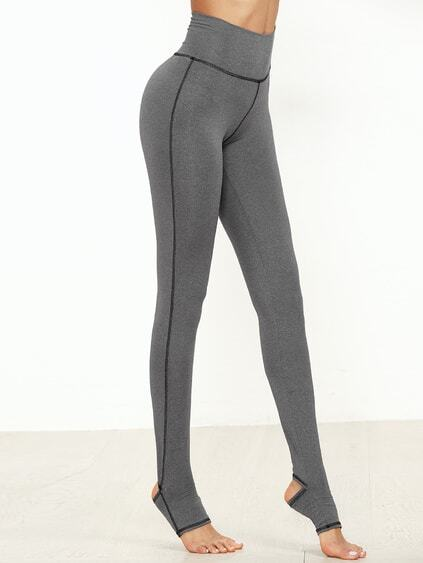 Grey Marled Knit Topstitch Stirrup Leggings