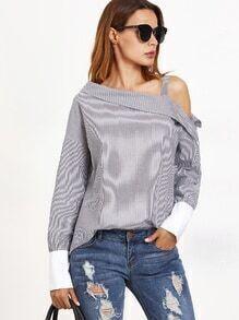 Asymmetrische Bluse Cut-Outs mit gestreifte Kontrast Manschette am Schulter -schwarz und weiß