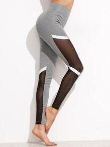 Leggings con malla de color combinado