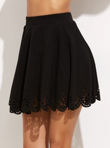 Black Laser Cutout Scallop Hem Textured Skirt