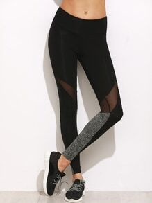 Leggings con detalle de malla de color combinado