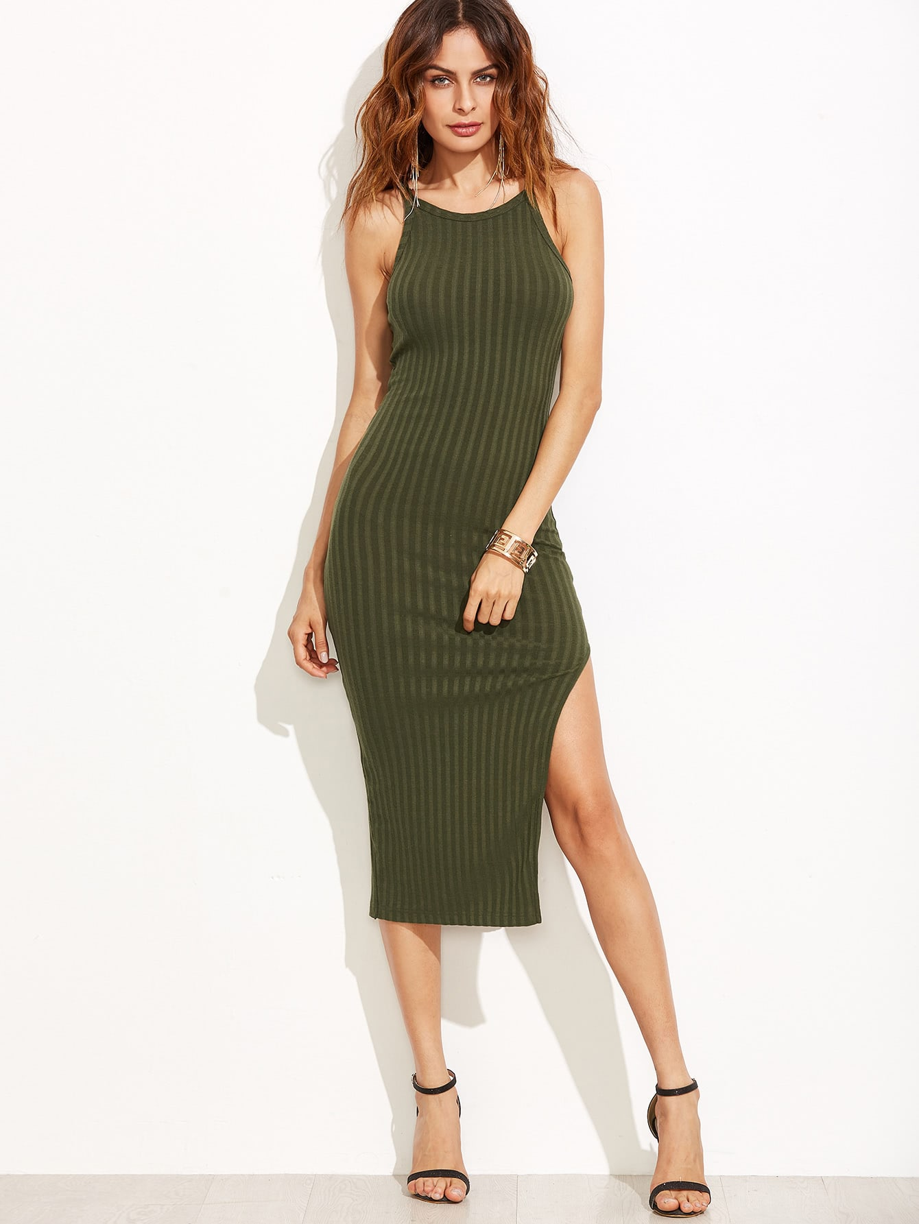 Olive Green Side Slit Ribbed Cami Dress